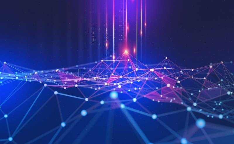 Grand concept de données Fond technologique abstrait de Blockchain Réseaux neurologiques et intelligence artificielle illustration de vecteur