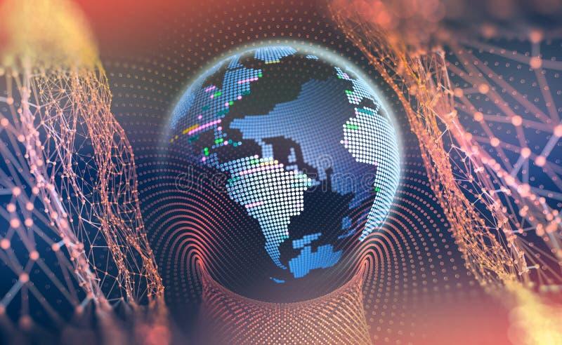 Grand concept de données Planète de cyberespace Salutations à travers le monde illustration libre de droits