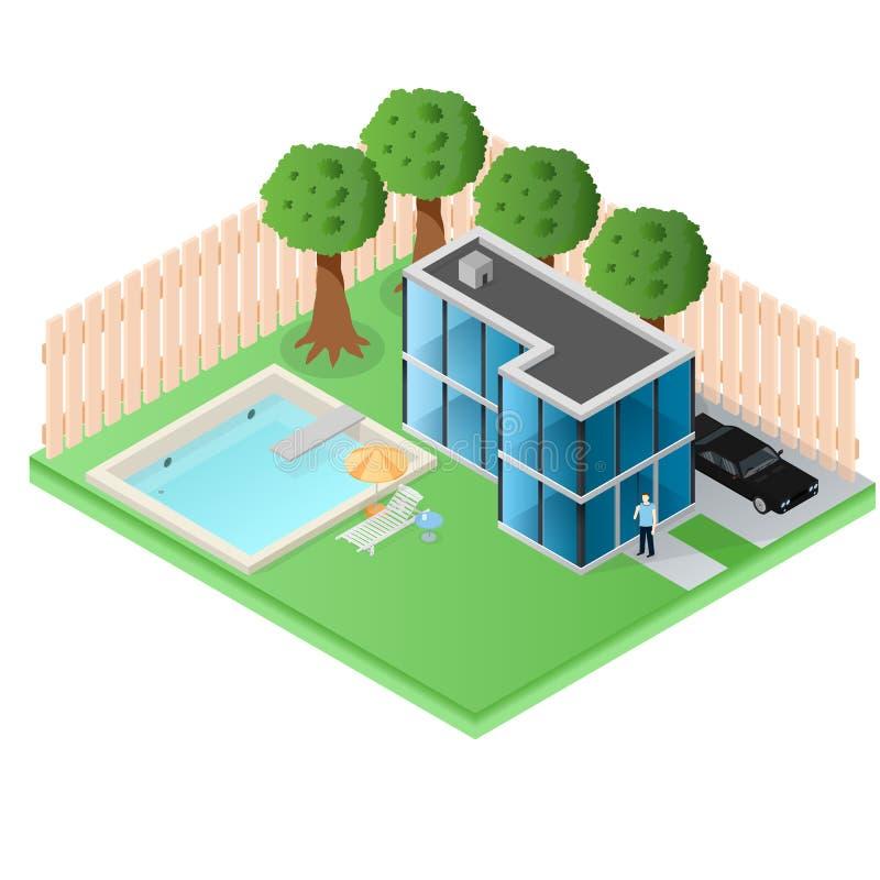 Grand cottage de pays fait de verre Une maison dans les banlieues illustration de vecteur