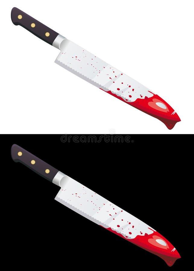 Grand couteau sanglant d'isolement illustration de vecteur