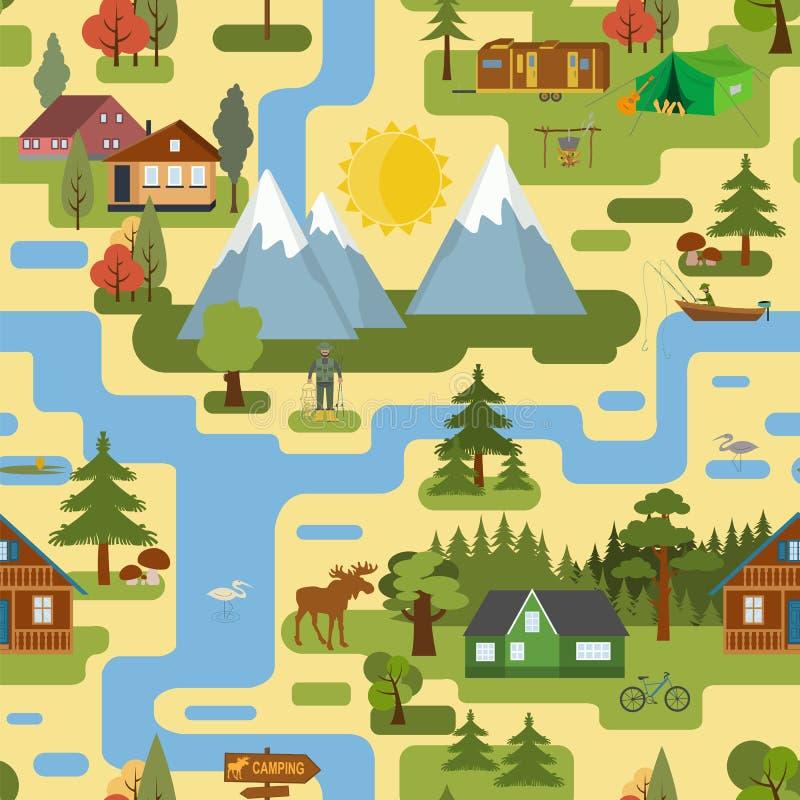Grand créateur de carte de ville Carte sans couture de modèle illustration de vecteur