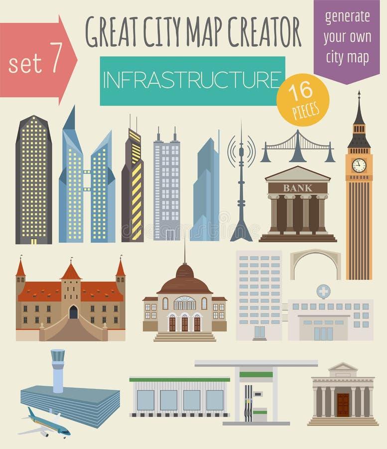 Grand créateur de carte de ville Constructeur de Chambre illustration de vecteur