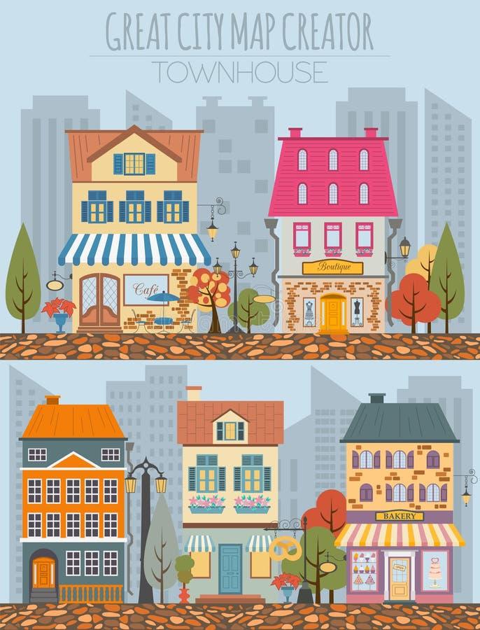 Grand créateur de carte de ville Constructeur de Chambre Chambre, café, restaura illustration stock