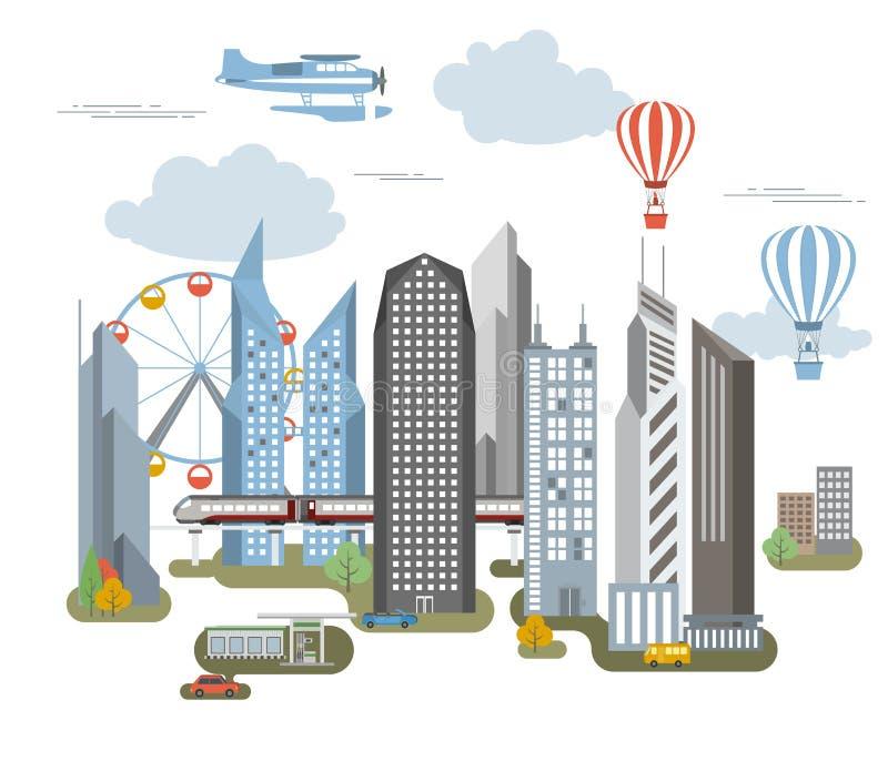 Grand créateur de carte de ville Version d'ensemble illustration de vecteur