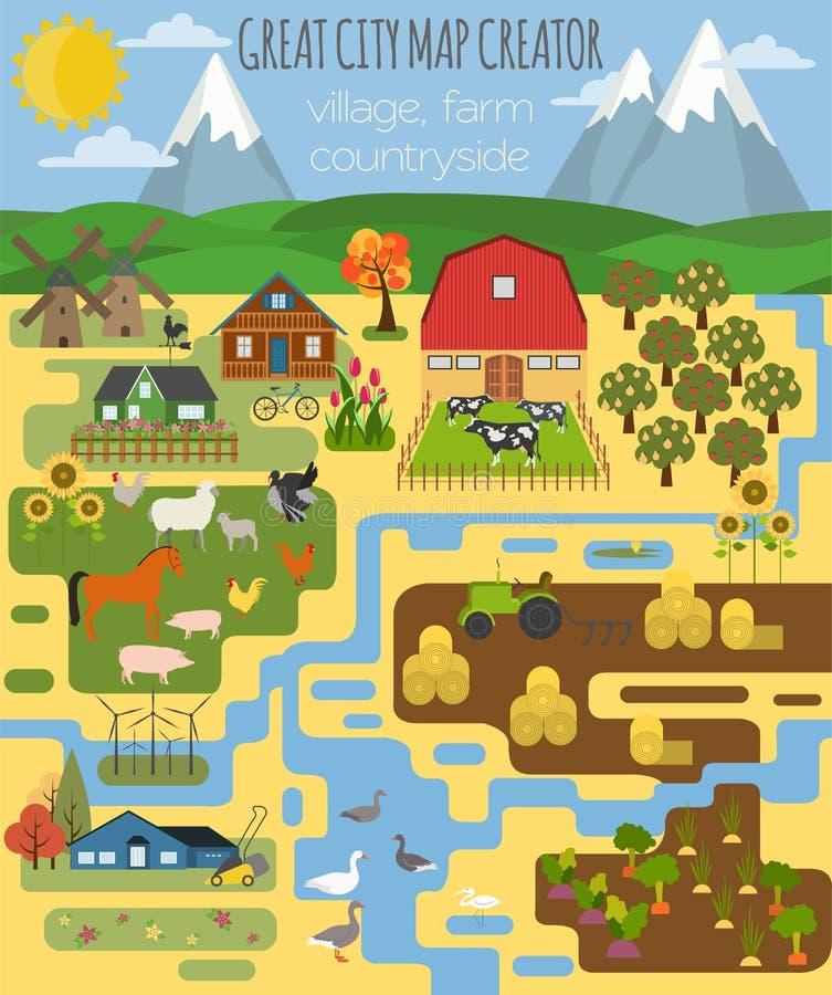 Grand créateur de carte de ville Village, ferme, campagne, agriculture illustration libre de droits