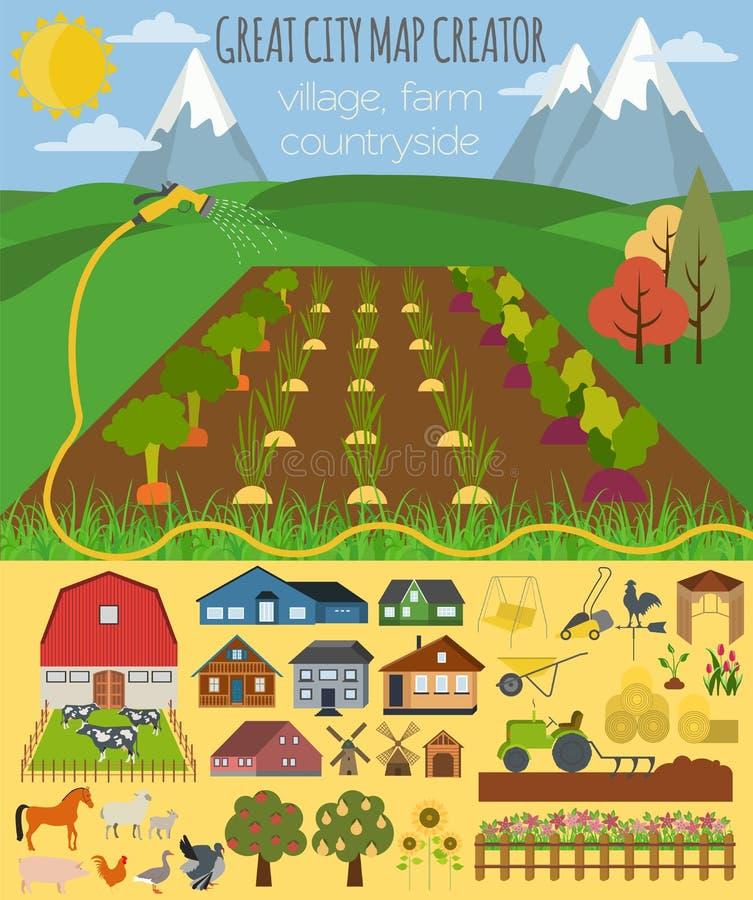 Grand créateur de carte de ville Village, ferme, campagne, agriculture illustration stock