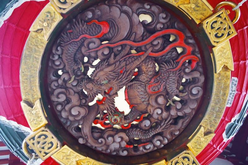 Grand détail rouge de lanterne de Kaminarimon photographie stock libre de droits