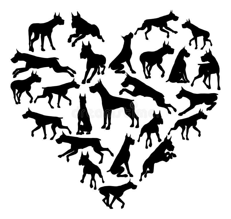 Grand Dane Dog Heart Silhouette Concept illustration de vecteur