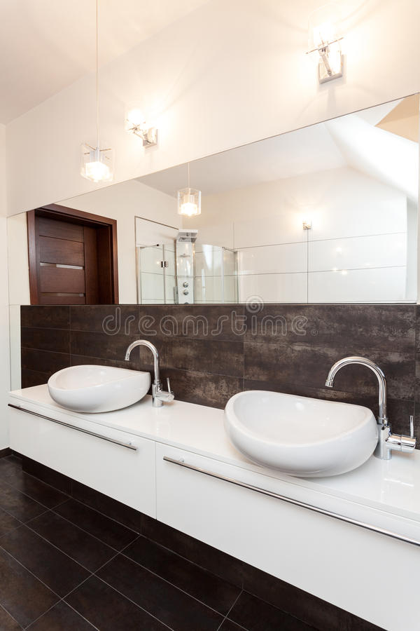 Grand design - double bathroom royalty free stock image