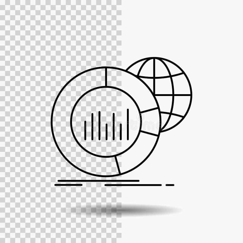 Grand, diagramme, données, monde, ligne infographic icône sur le fond transparent Illustration noire de vecteur d'ic?ne illustration libre de droits