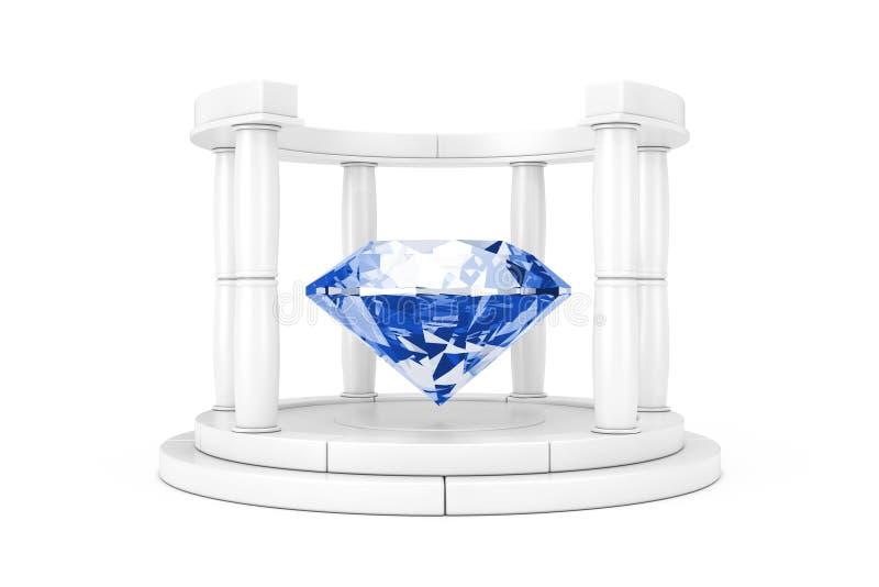 Grand diamant clair bleu au centre du podium antique blanc avec des colonnes en Clay Style rendu 3d illustration de vecteur