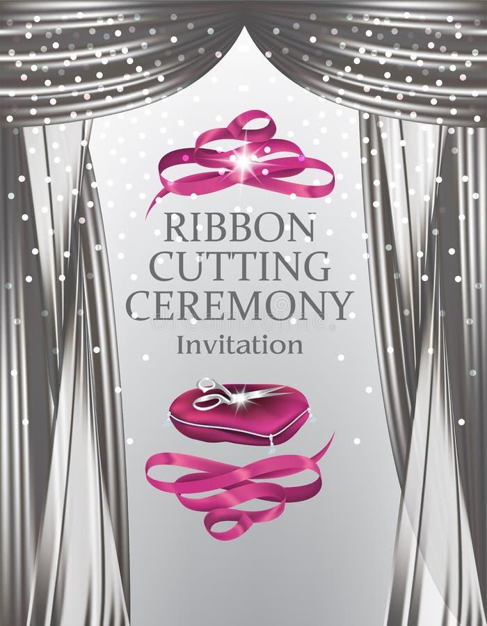 Grand die elegante uitnodigingskaart met fonkelende theatergordijnen, schaar op het hoofdkussen en lint openen stock illustratie
