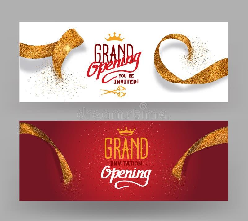 Grand die horisontal banners met abstracte gouden besnoeiingslinten openen vector illustratie