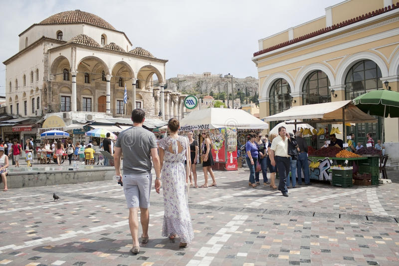Grand dos de Monastiraki à Athènes, Grèce images libres de droits