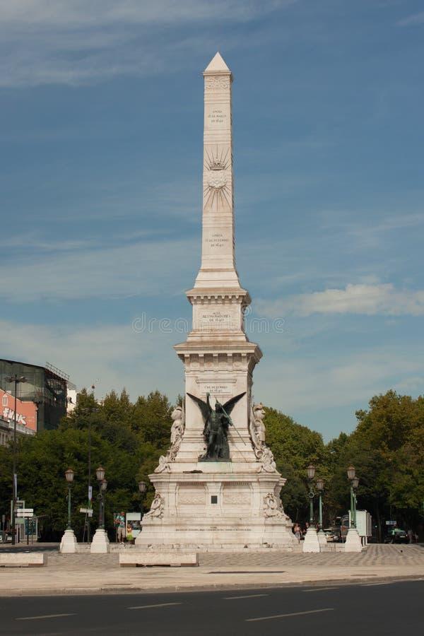 Grand dos de Restauradores et statue, Lisbonne, Portugal photo stock
