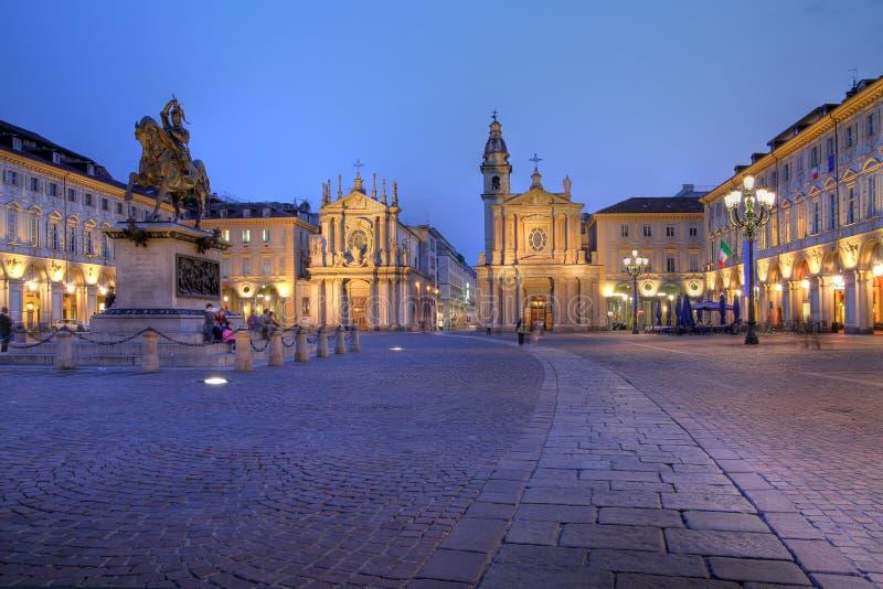 Grand dos de San Carlo à Turin/à Torino, Italie image stock