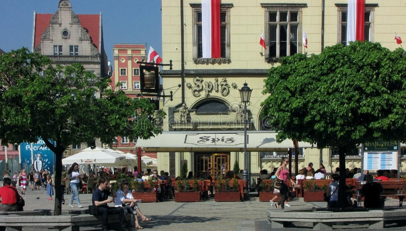 Grand dos du marché, Wroclaw, Pologne, une EURO ville 2012 images stock