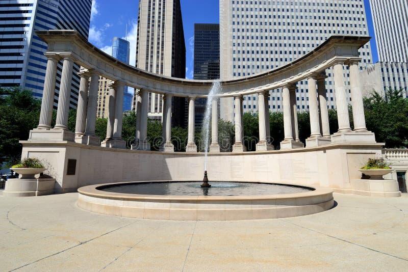 Grand dos et fontaine de Wrigley image libre de droits