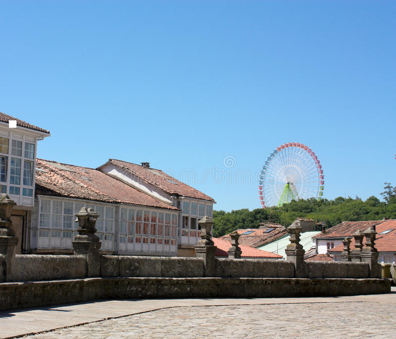 Grand dos médiéval de Santiago de Compostela photographie stock