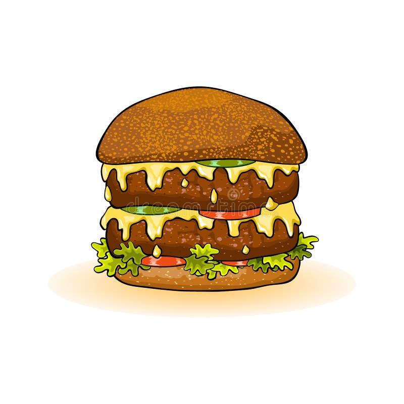 Grand double hamburger avec des petits pâtés de boeuf, fromage fondu, tomates, concombre, laitue sur le petit pain grillé illustration libre de droits