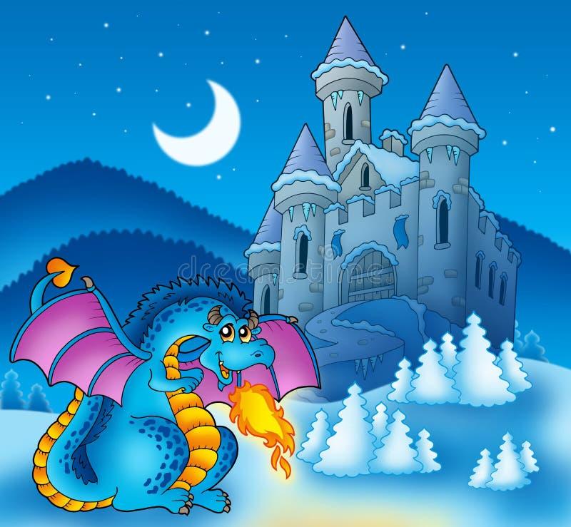 Grand dragon bleu avec le château de l'hiver illustration stock
