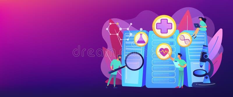 Grand en-tête de bannière de concept de soins de santé de données illustration stock