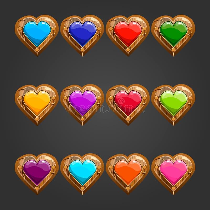 Grand ensemble avec le coeur en bois illustration de vecteur