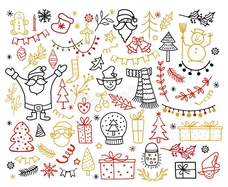 Grand ensemble d'élément de conception de Noël dans le style de griffonnage Illustration de vecteur de vacances d'hiver illustration stock