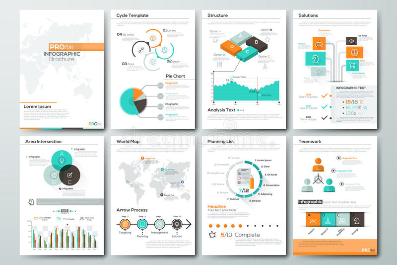 Grand ensemble d'éléments de vecteur et de brochures infographic d'affaires illustration de vecteur