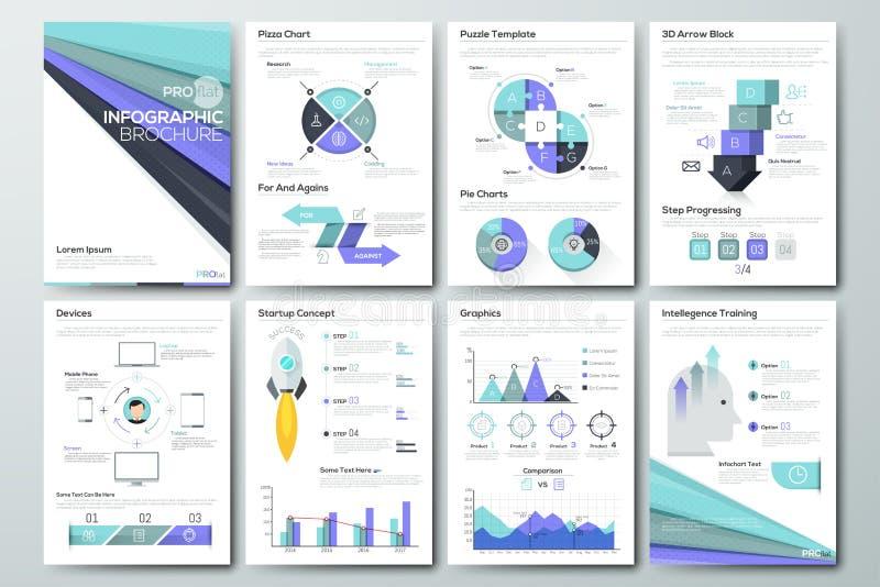 Grand ensemble d'éléments de vecteur et de brochures infographic d'affaires illustration stock