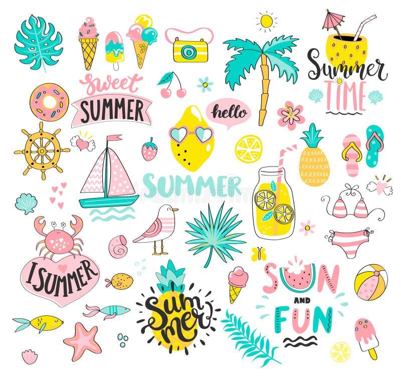 Grand ensemble d'été du soleil et d'éléments tirés par la main d'amusement illustration de vecteur