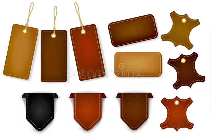 Grand ensemble d'étiquettes et d'étiquettes de cuir. Vecteur. illustration de vecteur