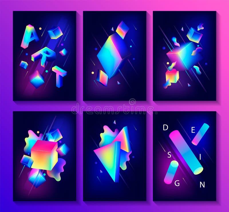 Grand ensemble d'affiches créatives de conception illustration de vecteur