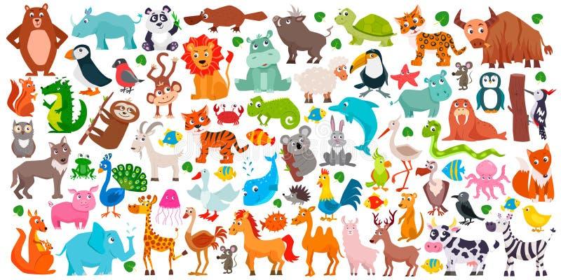 Grand ensemble d'animaux mignons de bande dessinée Illustration de vecteur photo libre de droits