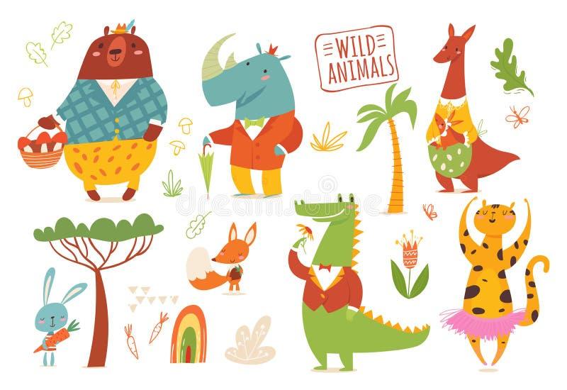 Grand ensemble d'animaux sauvages de forêt de bande dessinée illustration de vecteur