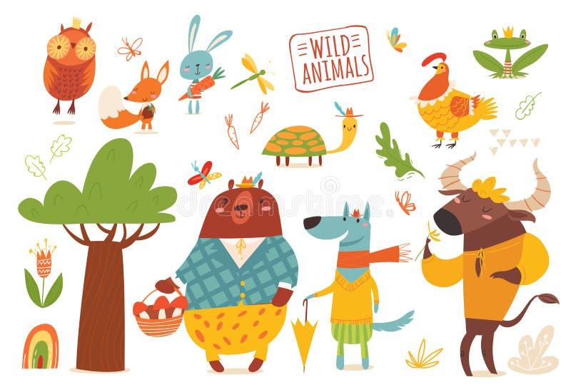 Grand ensemble d'animaux sauvages drôles de forêt de bande dessinée illustration libre de droits