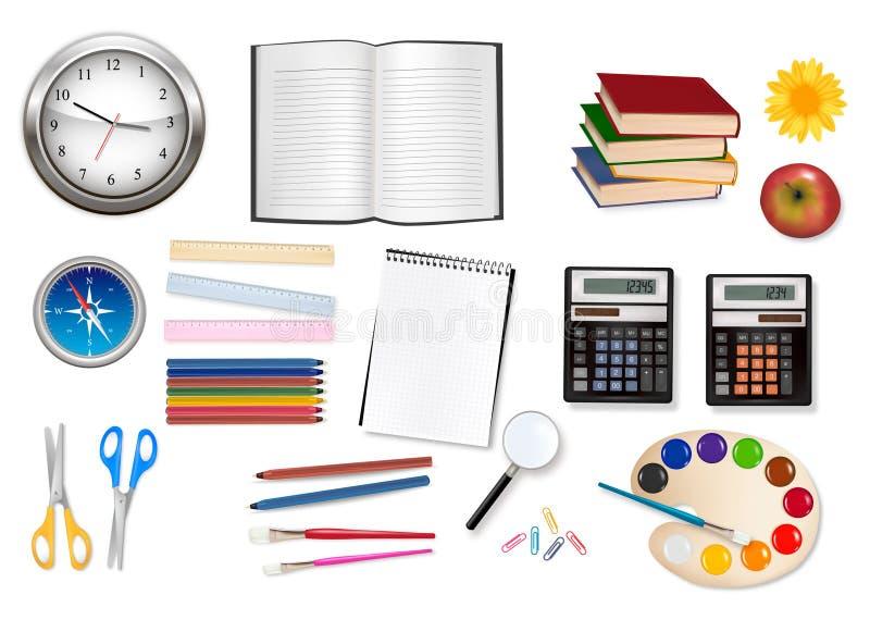 Grand ensemble d'approvisionnements d'école. illustration stock