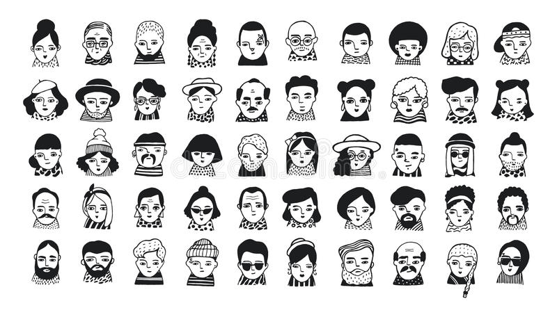 Grand ensemble d'avatars de personnes pour le media social, site Web Filles et types à la mode de portraits de griffonnage Tiré p illustration stock