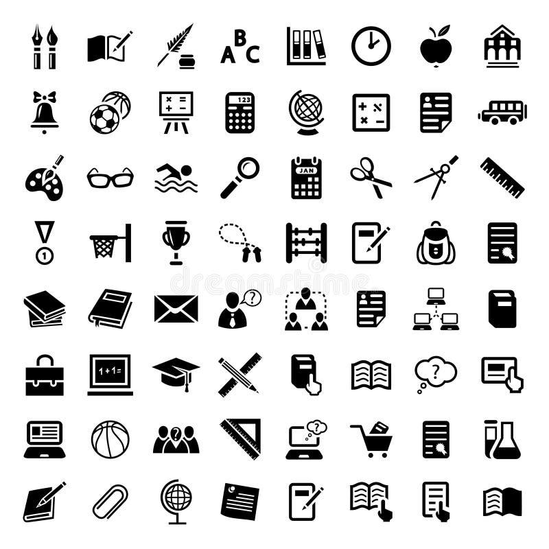 Grand ensemble d'icône d'école illustration de vecteur