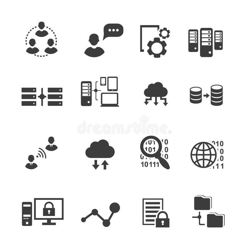 Grand ensemble d'icône de données, analytics, calcul de nuage illustration libre de droits