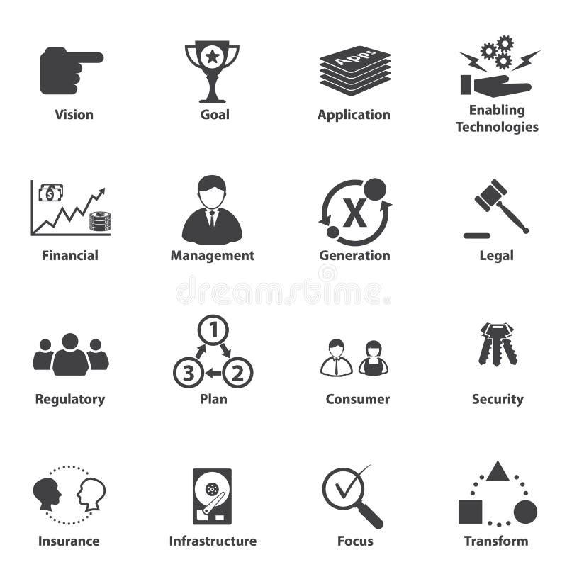 Grand ensemble d'icône de données, planification stratégique stratégique de service informatique d'affaires illustration de vecteur