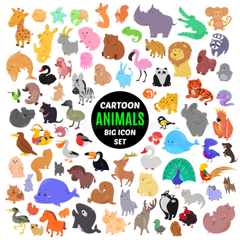Grand ensemble d'icônes animales de bande dessinée mignonne sur le fond blanc illustration stock