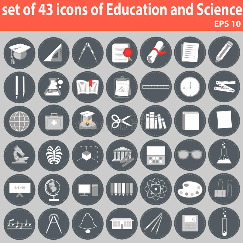 Grand ensemble d'icônes d'éducation et de la Science illustration de vecteur
