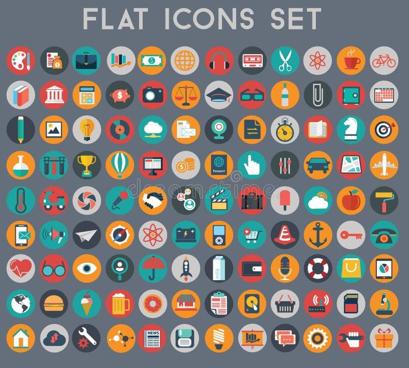 Grand ensemble d'icônes plates de vecteur avec des couleurs modernes photographie stock libre de droits