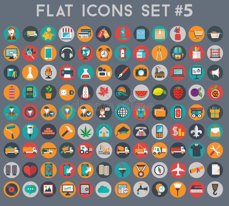 Grand ensemble d'icônes plates de vecteur avec des couleurs modernes images libres de droits