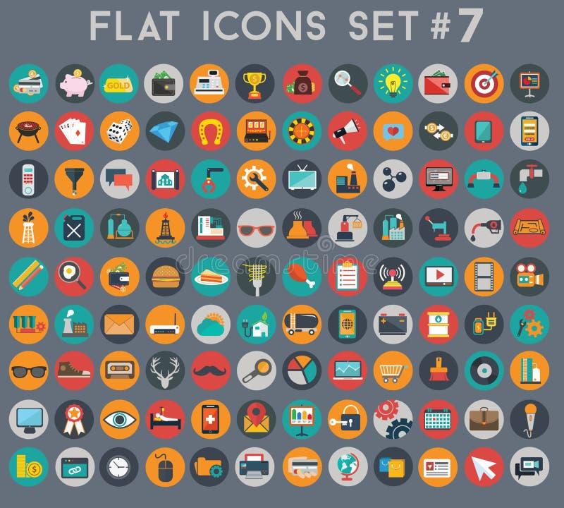 Grand ensemble d'icônes plates de vecteur avec des couleurs modernes illustration stock