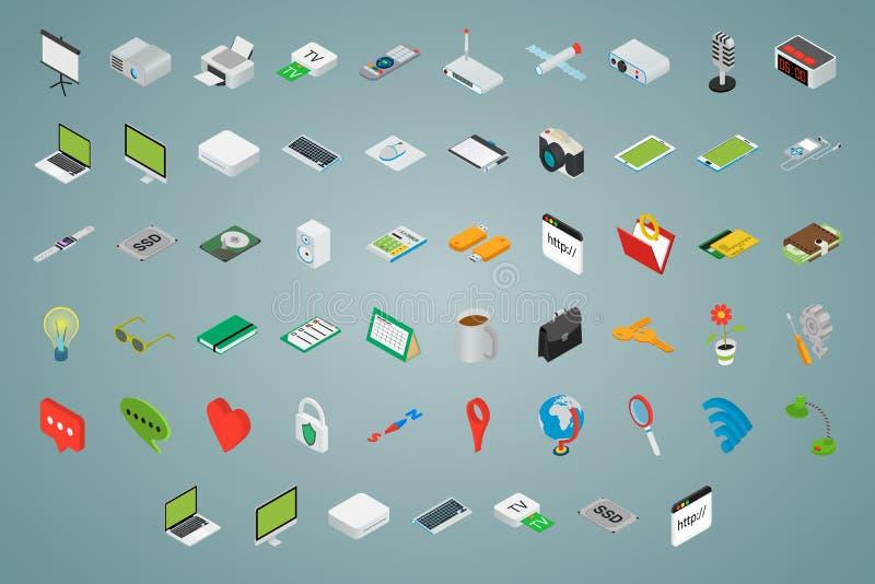 Grand ensemble d'icônes volumétriques isométriques illustration stock