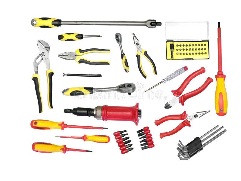 Grand ensemble d'outils images stock
