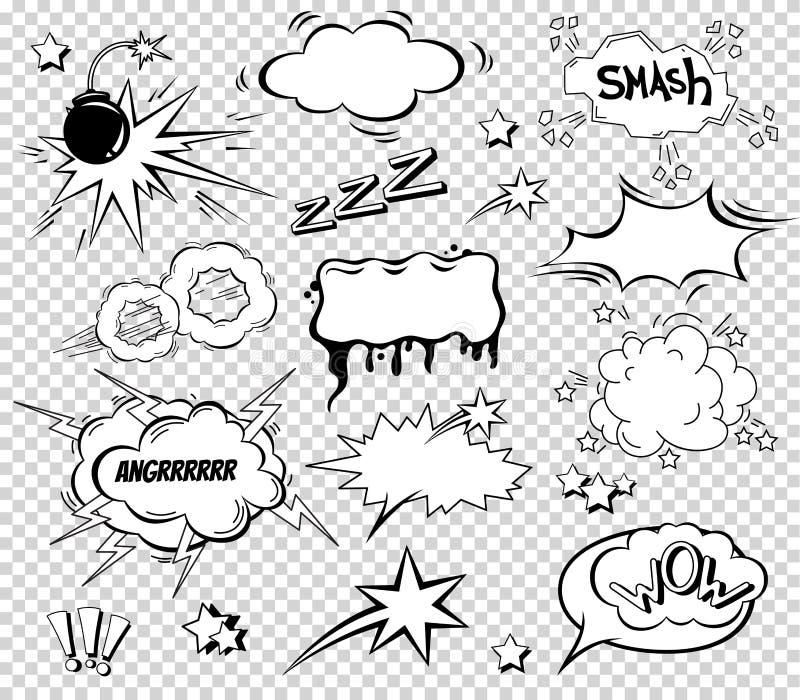 Grand ensemble de bande dessinée, bulles comiques de la parole, nuages vides de dialogue dans le bruit Art Style Illustration de  illustration de vecteur