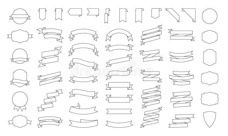 Grand ensemble de banni?res de rubans de vecteur Illustration plate de ruban d'isolement sur le fond blanc Collection de rubans illustration libre de droits
